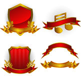Jogo de emblemas e de bandeiras do vetor Imagem de Stock