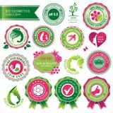 Jogo de emblemas e de etiquetas dos cosméticos ilustração do vetor