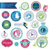 Jogo de emblemas e de etiquetas dos cuidados médicos Fotografia de Stock Royalty Free