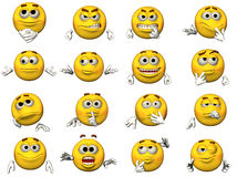 Jogo de Emoticons do smiley 3D Fotos de Stock Royalty Free