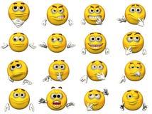 Jogo de Emoticons do smiley 3D Fotos de Stock Royalty Free