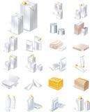 Jogo de empacotamento do ícone do vetor Imagem de Stock