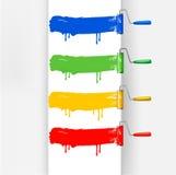 Jogo de escovas coloridas do rolo de pintura. Vetor Fotografia de Stock