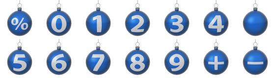 Jogo de esferas azuis do Natal com números de prata Ilustração Stock