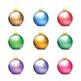 Jogo de esferas coloridas do Natal Imagens de Stock Royalty Free