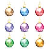 Jogo de esferas coloridas do Natal Foto de Stock