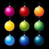 Jogo de esferas coloridas do Natal do vetor Fotografia de Stock Royalty Free