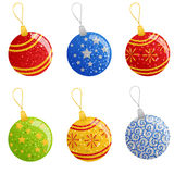 Jogo de esferas do Natal Fotos de Stock Royalty Free