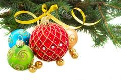 Jogo de esferas do Natal Fotografia de Stock