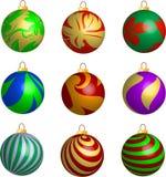 Jogo de esferas do Natal da fita 3D e das folhas ilustração royalty free