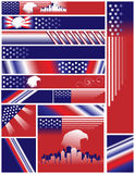 Jogo de Estados Unidos tamanhos das cores das bandeiras de multi Imagens de Stock Royalty Free