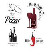 Jogo de etiqueta para o restaurante, o café, a barra e o winemaking Fotos de Stock Royalty Free