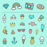 Jogo de etiquetas bonitos dos desenhos animados Imagem de Stock Royalty Free