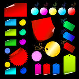 Jogo de etiquetas coloridas Foto de Stock Royalty Free