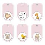Jogo de etiquetas cor-de-rosa dos animais dos desenhos animados Foto de Stock