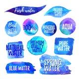 Jogo de etiquetas da água ilustração stock