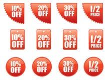 Jogo de etiquetas da venda Fotografia de Stock Royalty Free