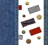 Jogo de etiquetas das calças de brim Foto de Stock Royalty Free