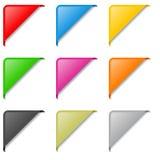Jogo de etiquetas de canto colorido Fotografia de Stock