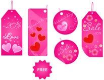 Jogo de etiquetas do dia do Valentim Fotografia de Stock Royalty Free