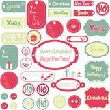 Jogo de etiquetas do projeto do Natal ilustração do vetor