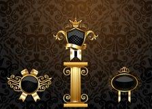 Jogo de etiquetas douradas do vintage Imagem de Stock Royalty Free