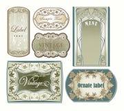 Jogo de etiquetas ornamentado do vintage Fotos de Stock