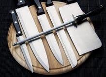 Jogo de facas do cozinheiro chefe fotos de stock royalty free