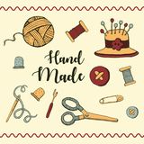 Jogo de ferramentas da costura, ícones do vetor ilustração stock