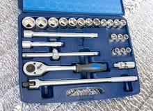Jogo de ferramentas metálicas. imagens de stock