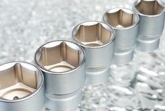 Jogo de ferramentas metálicas. Cromo fotos de stock royalty free