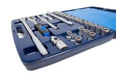Jogo de ferramentas metálicas. Isolado imagens de stock royalty free