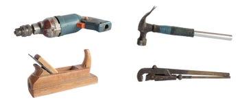 Jogo de ferramentas velhas isoladas foto de stock royalty free