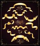 Jogo de fitas do ouro e de elementos do projeto Imagens de Stock Royalty Free