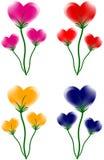 Jogo de flores do coração Fotografia de Stock Royalty Free