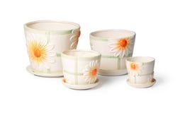 Jogo de flowerpots cerâmicos para plantas internas Fotografia de Stock Royalty Free