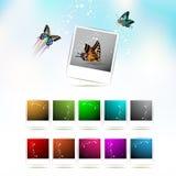 Jogo de fotos coloridas em branco Foto de Stock