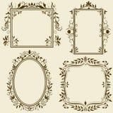 Jogo de frames do vintage com ornamento floral ilustração royalty free