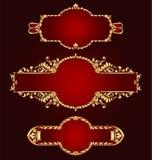 Jogo de frames dourados Imagens de Stock Royalty Free