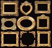 Jogo de frames dourados objetos barrocos da antiguidade do estilo Foto de Stock Royalty Free