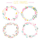 Jogo de frames florais Fotos de Stock Royalty Free
