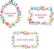 Jogo de frames retros coloridos decorativos Imagens de Stock Royalty Free