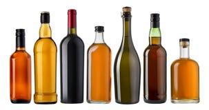 Jogo de frascos do vinho e do conhaque Fotos de Stock Royalty Free