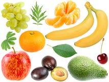 Jogo de frutas frescas e de berryes imagens de stock royalty free