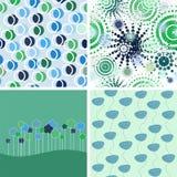 Jogo de fundos abstratos. verde e azul Foto de Stock Royalty Free