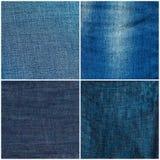 Jogo de fundos da textura das calças de brim Imagens de Stock Royalty Free