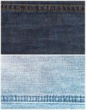 Jogo de fundos da textura das calças de brim com emenda Foto de Stock