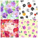Jogo de fundos florais Teste padrão floral sem emenda Vetor ilustração stock