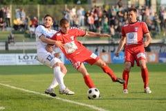 Jogo de futebol de Kaposvar - de Szolnok Fotografia de Stock Royalty Free