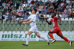 Jogo de futebol de Kaposvar - de Szolnok Fotos de Stock